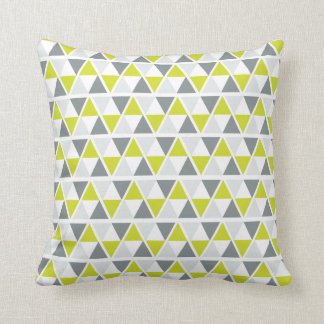 Lime Green Grey Geometric Pattern Cushion
