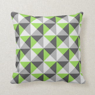 Lime Green Grey Geometric Triangles Pillow