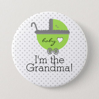 Lime Green & Grey Polka Dots-Baby Shower 7.5 Cm Round Badge