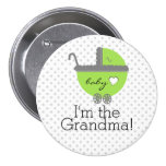 Lime Green & Grey Polka Dots-Baby Shower Buttons