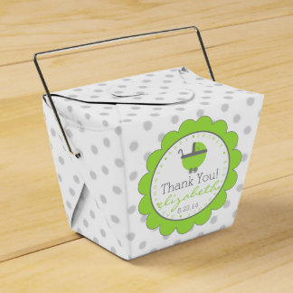 Lime Green & Grey Polka Dots-Baby Shower Favour Box