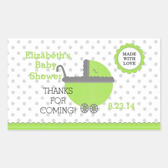 Lime Green & Grey Polka Dots-Baby Shower Rectangular