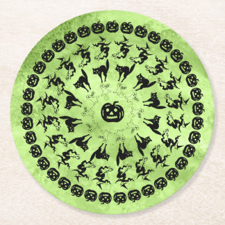 Lime Green Halloween Fun Font Art Circles Round Paper Coaster