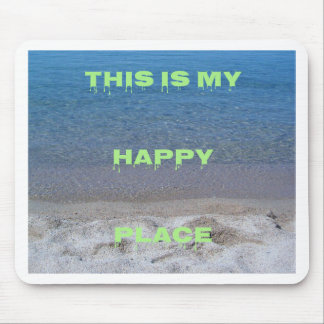 Lime Green Happy Place Phrase On Clear Lake Mouse Pad