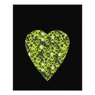 Lime Green Heart. Patterned Heart Design. Flyers