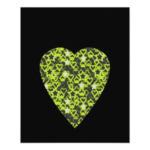 Lime Green Heart. Patterned Heart Design. Flyers