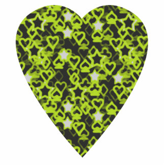 Lime Green Heart. Patterned Heart Design. Photo Sculpture Key Ring