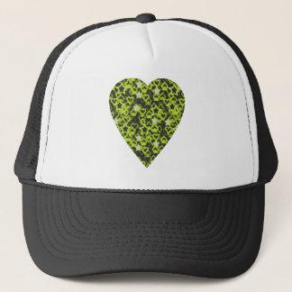 Lime Green Heart. Patterned Heart Design. Trucker Hat
