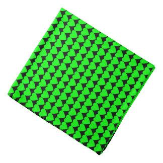 Lime Green Hearts on Black Bandanna