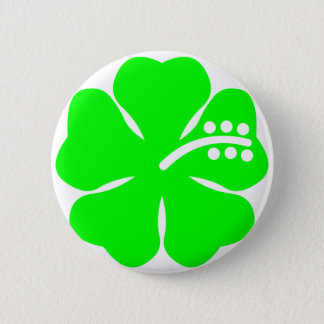 Lime green hibiscus flower 6 cm round badge