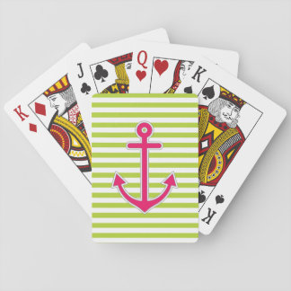 Lime Green Hot Pink Anchor Nautical Playing Cards