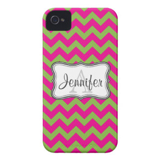 Lime Green & Hot Pink Chevron Monogram iPhone 4/4s iPhone 4 Case
