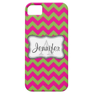 Lime Green & Hot Pink Chevron Monogram iPhone 5 iPhone 5 Cases