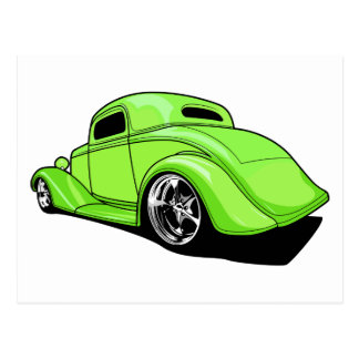 Lime Green Hot Rod Postcard