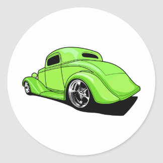 Lime Green Hot Rod Round Sticker