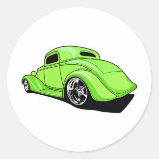 Lime Green Hot Rod Round Sticker