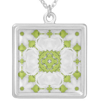 Lime green kaleidoscope square square pendant necklace
