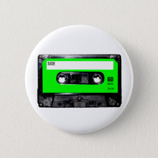 Lime Green Label Cassette 6 Cm Round Badge
