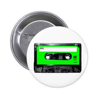 Lime Green Label Cassette 6 Cm Round Badge