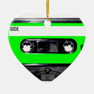 Lime Green Label Cassette Double-Sided Heart Ceramic Christmas Ornament