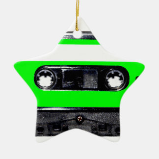 Lime Green Label Cassette Double-Sided Star Ceramic Christmas Ornament