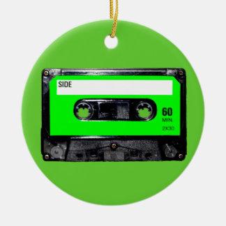 Lime Green Label Cassette Round Ceramic Decoration
