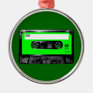Lime Green Label Cassette Silver-Colored Round Decoration