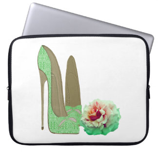 Lime Green Lace Stiletto and Rose Electronic Case Laptop Sleeve