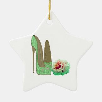 Lime Green Lace Stiletto Shoes and Rose Art Christmas Ornament