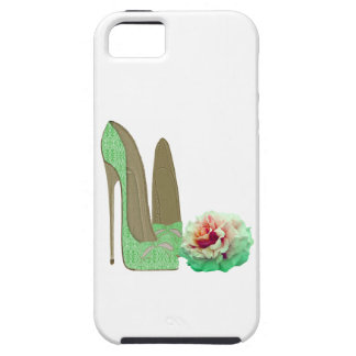 Lime Green Lace Stiletto Shoes and Rose Art iPhone 5 Covers
