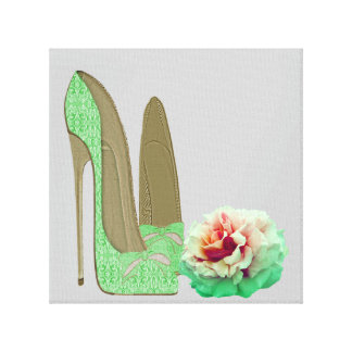 Lime Green Lace Stiletto Shoes and Rose Prints Gallery Wrapped Canvas