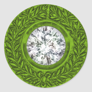 Lime Green Laurel Wreath and Diamond Envelope Seal