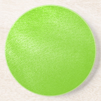 Lime Green Leather Look (Faux) Drink Coaster