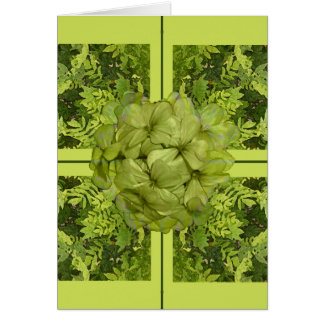 Lime Green Leaves Easter Greeting Card