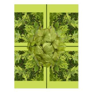 Lime Green Leaves Easter Postcard