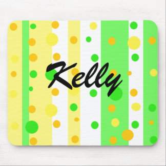 Lime Green Lemon Yellow Striped and Dots Mouse Pad