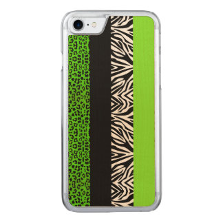Lime Green Leopard and Zebra Animal Print Carved iPhone 8/7 Case