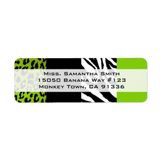 Lime Green Leopard and Zebra Animal Print Return Return Address Label