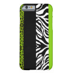 Lime Green Leopard and Zebra Custom Animal Barely There iPhone 6 Case