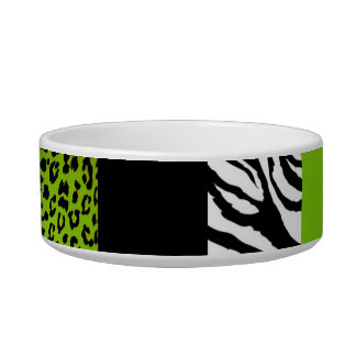 Lime Green Leopard and Zebra Custom Animal Print Bowl