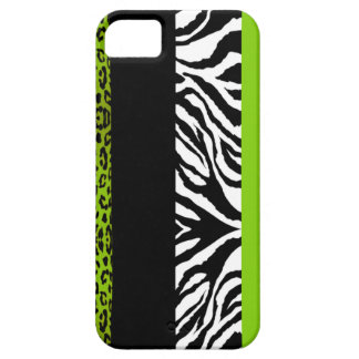 Lime Green Leopard and Zebra Custom Animal Print Case For The iPhone 5