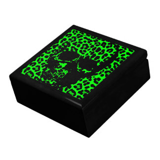 Lime Green Leopard print gothic skull Gift Box