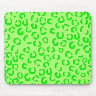 Lime Green Leopard Print Pattern Mousepads
