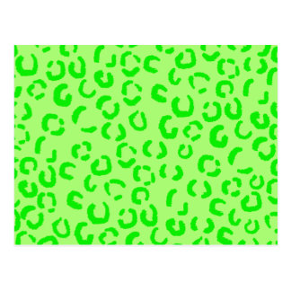 Lime Green Leopard Print Pattern Post Card