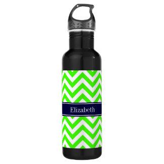 Lime Green LG Chevron Navy Blue Name Monogram 710 Ml Water Bottle