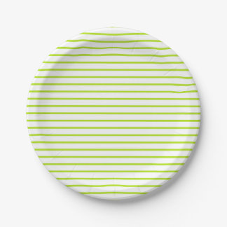 Lime Green Lines White Paper Plate