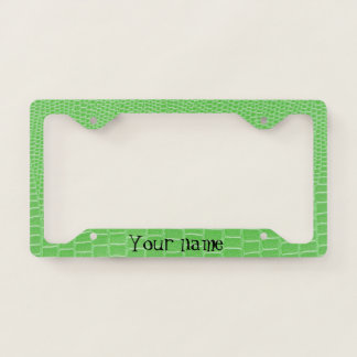 Lime Green Lizard Skin Look Add Your Name Licence Plate Frame