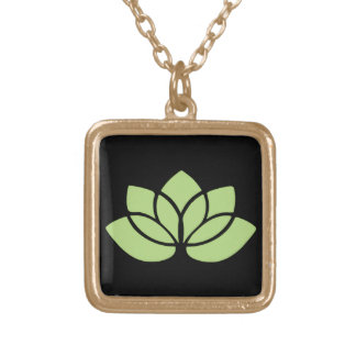Lime Green Lotus Flower Gold Plated Necklace