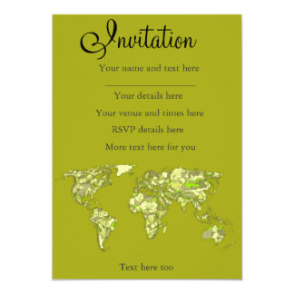Lime green maps 13 cm x 18 cm invitation card