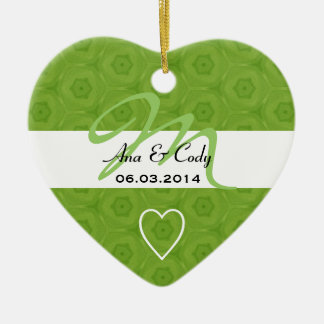 Lime Green Monogram Bride and Groom Wedding B464 Ceramic Heart Decoration
